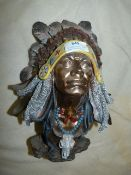 Large Native American Chieftain Bust