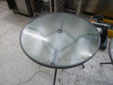 * x3 circle glass garden tables, including garden umbrella/canopy.