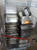 *Cage containing Approx 70 Stainless Gastro Trays, Pans, Bain Marie Inserts