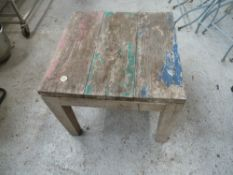 * wooden tables/small x2 outdoor wooden tables.