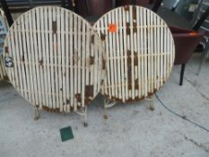 * x2 garden tables, good condition. X2 chairs not matching.