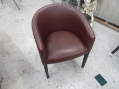 * x2 red leather tub chairs, really clean ideal for indoor sitting.