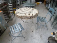 * metal outdoor garden table with x3 chairs could do with a paint but very sturdy other then that.