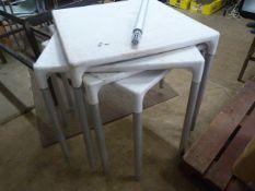 *Four Plastic Tables 72x72x73cm