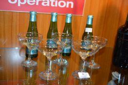 Five Babycham Glasses and Four Bottles of Babycham