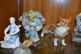 Four Pottery Items; Corgi, Two Boy Figures and a B
