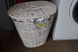 White Woven Linen Bin