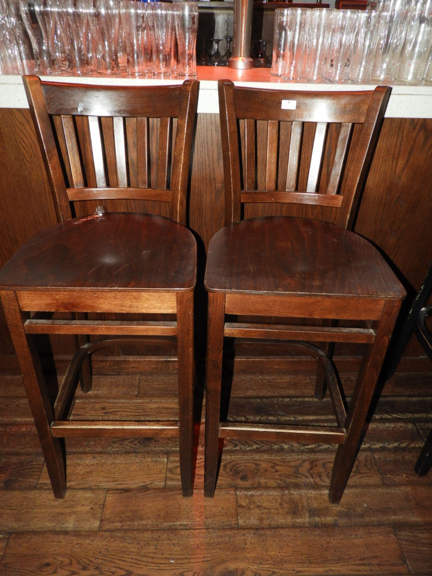 Lot 4 - *Pair of Wood Seated Slat Back Bar Stools