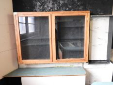 Oak Framed Glazed Display Cabinet Enclosed by Double Doors with Shelves