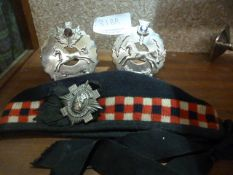 Johnstone Collection: Vintage Royal Scots Bonnet and Two Plaid Brooches