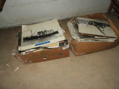 Two Boxes of Early Black & White Prints and Photographs (approx 80)
