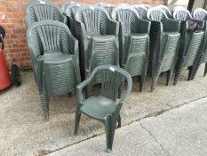 Twenty Green Plastic Stackable Chairs