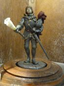 Johnstone Collection: Small Metal Figure of a Knight on Stand