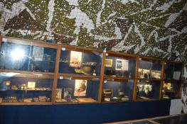Bank of Five Oak Framed Display Cabinet Enclosed by Double Sliding Doors