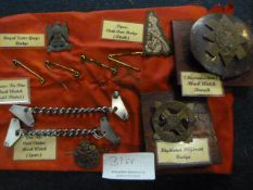 Johnstone Collection: Small Quantity of Scottish Regimental Badges, Spat Chains, and Tie Pins