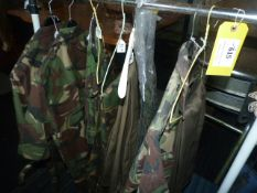 Clothes Rail of DPM Shirts and Trousers, and Lightweight Green Trousers