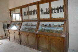 Large Glazed Oak Display Cabinet over Panel Door Cupboards