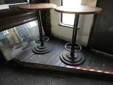 Two Poser Tables on Cast Iron Pedestals