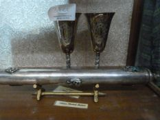Johnstone Collection: Pair of Silver Plated Goblet and Baton on Stand
