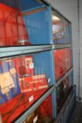Six Metal Display Cabinets Enclosed by Sliding Glass Doors