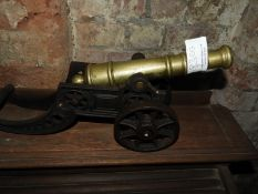 Ornamental Brass Cannon with Cast Iron Carriage ~47cm long