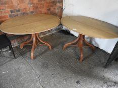 Three Oval Pine Pedestal Tables