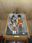 Johnstone Collection: Amateur Painting of Pipe Major C.A. Johnstone, and Drum Major M.E. Johnstone