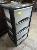 Four Drawer Plastic Storage Unit with Small Quanti