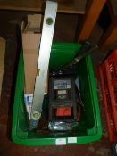 Box Including Battery Chargers, Spirit Level, Sold