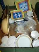 Box of Assorted China and Glassware