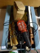 Box of Tools; Inspection Lamp, Vice, Chisels, etc.