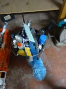 Bucket of Part Used Car Cleaning Products
