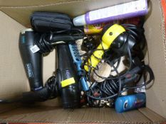 Box of Hair Dryers. Curling Tongs, etc.