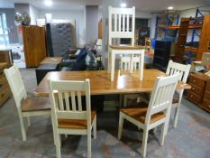 Pine Dining Table with Six Chairs 189x98cm
