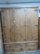 Reclaimed Pine Three Door Wardrobe with Three over