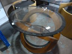 *Oval Glass Topped Coffee Table