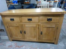 Solid Wood Sideboard with Two Cupboard and Three D