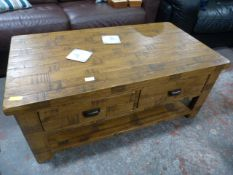 Solid Wood Coffee Table with Drawers and Shelf