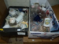 Two Boxes of Assorted China and Glassware