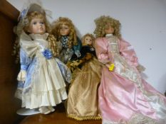 Four Dolls in Victorian Dress