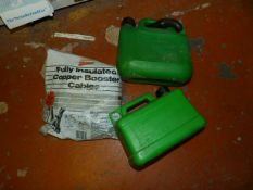 Two Petrol Containers and a Set of Booster Cables