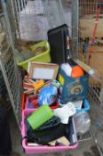 Cage of Assorted Goods; Bicycle Helmets, Books, Pi