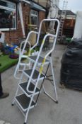 White Four Tread Folding Step Ladder