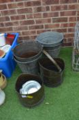 Galvanised Buckets and Copper Coal Scuttles