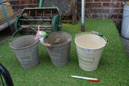 Three Small Metal Flower Buckets