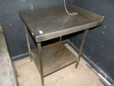 "Stainless Steel Table with Shelf 27.5""x32""x35.5"""