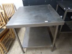 "Stainless Steel Table with Shelf 32""x33.5""x35"""
