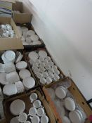 *~400 White China Saucers and ~260 Tea Cups