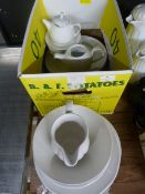 *Small Box of White China Including Teapots, Dinner