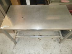 * St Steel Prep bench, very clean condition.(1220Wx755Hx615D)